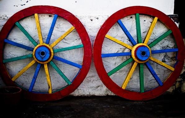 Picture paint, wheel, cart