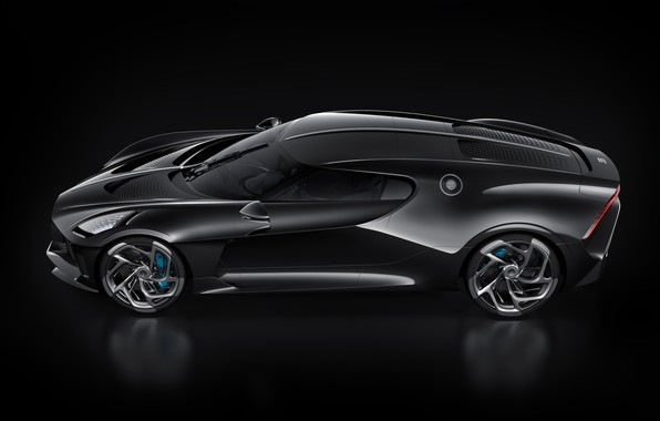Picture machine, black, Bugatti, stylish, hypercar, The Black Car