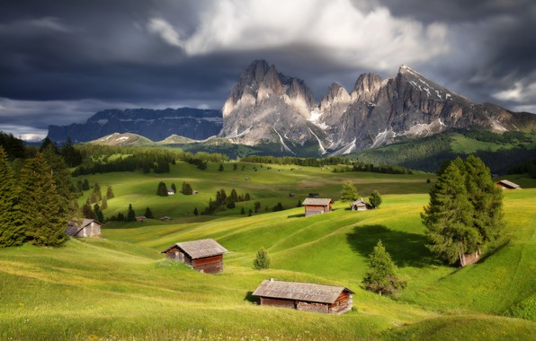 Picture trees, landscape, mountains, clouds, nature, home, Italy, forest, meadows, The Dolomites, Sergey Zalivin