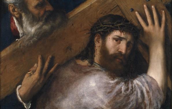 Picture cross, Titian Vecellio, Christ and Simon Kininase, 1547