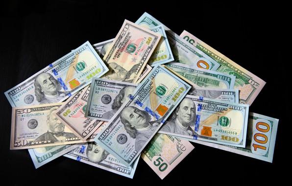 Picture Black background, USA, Bills, Money, Benjamin Franklin, Benjamin Franklin, Dollar, Dollar, Dollars, 100, Сто