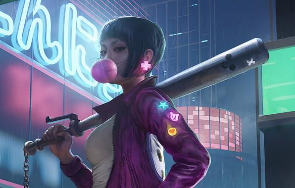 Picture chain, hooligan, baseball bat, night street, gum, neon lights, bandit, by Richard Foo