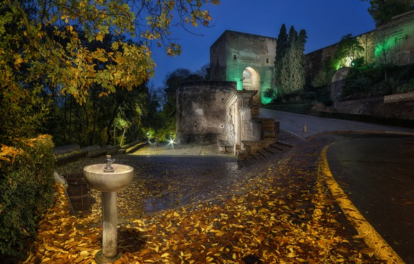 Picture road, autumn, leaves, trees, night, lights, wall, arch, Spain, the bushes, Palace, Alhambra, Granada
