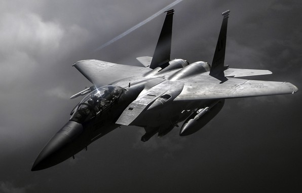 Picture UNITED STATES AIR FORCE, fighter-bomber, F-15E, Strike Eagle, McDonnell Douglas, American double