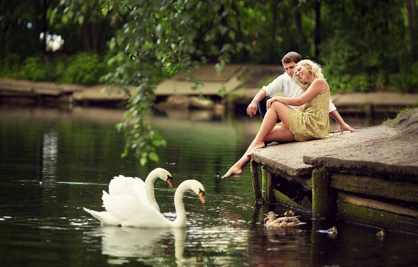 Picture summer, girl, birds, branches, nature, pond, people, romance, duck, pair, guy, swans, lovers, Marianne Smolin