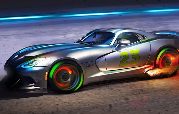 Picture Car, Art, Flame, Dodge Viper, Sketch, Sparks, Alexander Sidelnikov
