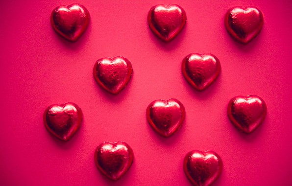 Picture background, hearts, foil
