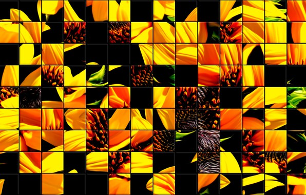 Picture glass, sunflowers, mosaic, tile, colors, texture, abstract drawing, background •, stained glass