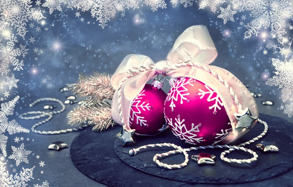 Picture snowflakes, background, balls, new year, Christmas, tape