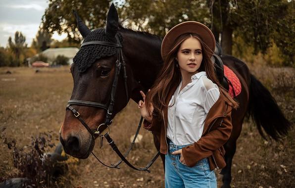 Picture girl, pose, horse, horse, jacket, hat, Alina Bozhko, Kristina Stepanova