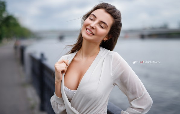 Picture chest, girl, pose, smile, neckline, closed eyes, Maxim Romanov, Maks Romanov