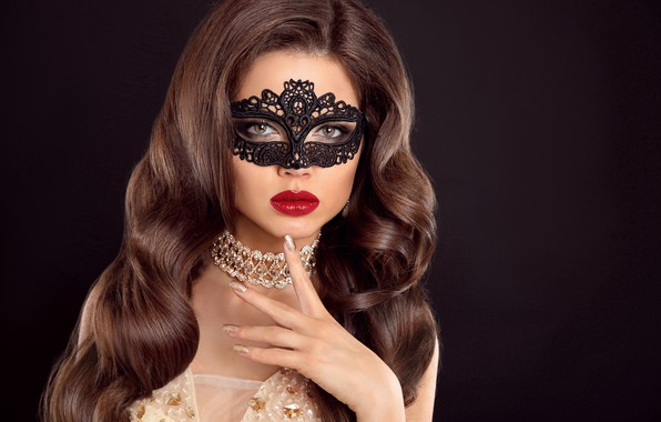 Picture girl, style, makeup, mask, lips, makeup