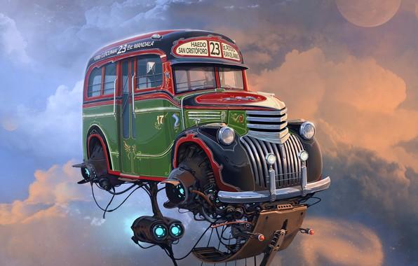 Picture car, future, sky, art, miscellaneous, fiction, Alejandro Burdisio