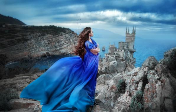 Picture sea, girl, pose, rock, castle, mood, dress, Crimea, Swallow's nest, The black sea, Maria Lipina