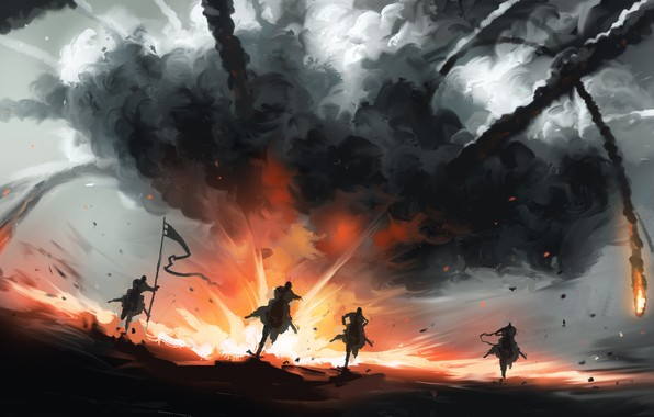 Picture Figure, Smoke, Fantasy, Art, Silhouettes, Art, War, Illustration, Concept Art, Dominik Mayer, by Dominik Mayer, …