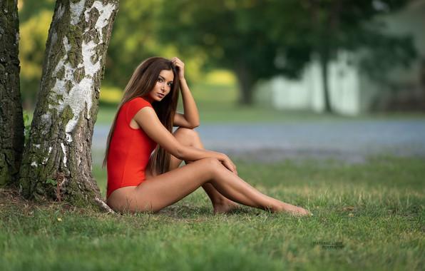 Picture grass, tree, model, Girl, figure, Sára, Robert Chrenka