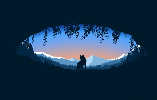 Picture forest, trees, landscape, minimalism, nature, mountains, animal, wolf, digital art, plants, silhouette, Cave, simple background
