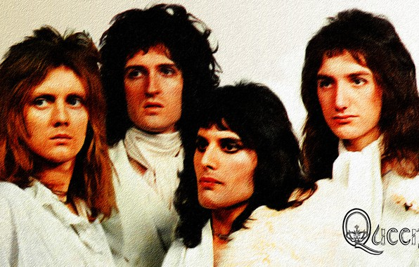 Picture Wallpaper, figure, painting, canvas, Queen, Freddie Mercury, Brian May, Roger Taylor, John Deacon, acrylic