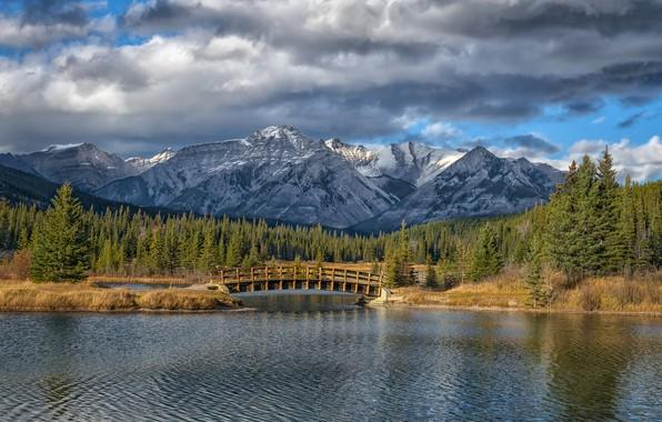 Picture forest, mountains, bridge, lake, Canada, Albert, Banff National Park, Alberta, Canada, Rocky mountains, Banff national …