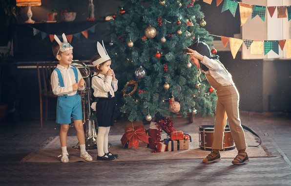 Picture children, holiday, the game, new year, wolf, gifts, tree, mask, bunnies, kindergarten, Marianne Smolin