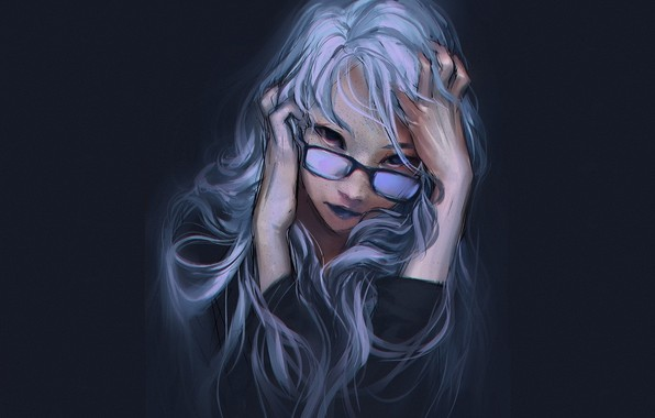 Picture face, the dark background, figure, hands, glasses, pastel, blue hair, portrait of a girl, looks …