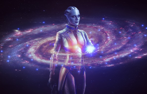 Picture space, stars, Girl, galaxy, the milky way, mass effect, character, hologram, Azari, liara t soni, …