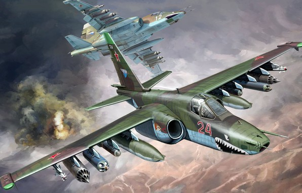 Picture THE SOVIET AIR FORCE, Sukhoi, Su-25, Frogfoot, Attack, armored subsonic military aircraft, the war in …