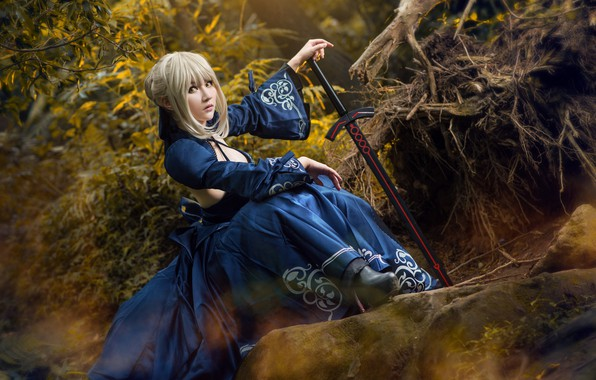Picture forest, look, girl, blue, face, roots, pose, style, stones, weapons, foliage, sword, hands, hairstyle, blonde, …