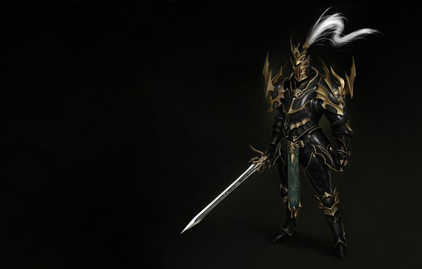 Picture Fantasy, Art, Style, Warrior, Knight, Minimalism, Blade, Man, Sword, Armor, Dragon Knight, Bugeon Choi