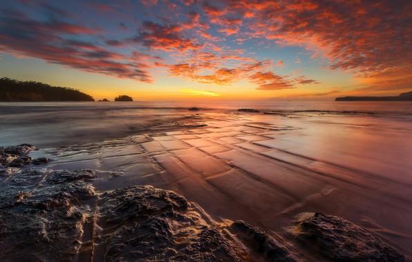 Picture Sunset, Water, Sea, Stone, The crimson, Shoal, Tide, Plate, Granite Exits