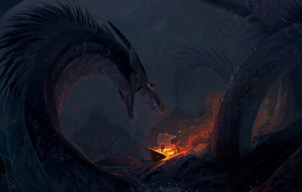 Picture waves, fire, fantasy, sea, night, rocks, dragon, ship, artwork, fantasy art, creature, burning, Sea monster