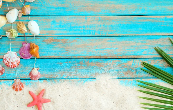 Picture sand, beach, background, Board, star, shell, summer, beach, wood, sand, marine, starfish, seashells