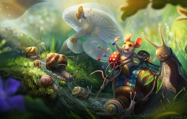 Picture stream, butterfly, mushrooms, snail, mouse, warrior, fantasy, art, scissors, children's, pin, pincushion, Diane ÖZDAMAR, Tiny …