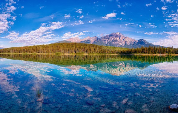 Picture autumn, forest, clouds, mountains, lake, reflection, blue, stones, tops, view, the bottom, Canada, panorama, Albert, …