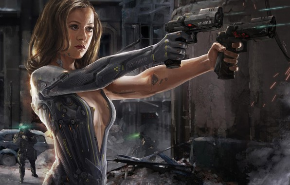 Picture guns, girl, fantasy, android, science fiction, sci-fi, weapons, digital art, artwork, warrior, fantasy art, cyborg, …