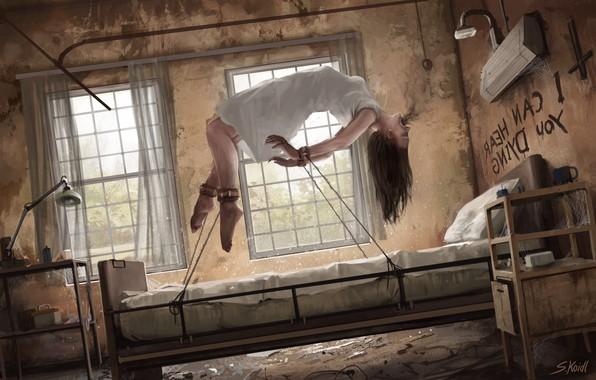 Picture Girl, Art, Horror, Illustration, The devil, Surreal, Horror, Creepy, Asylum, Stefan Koidl, by Stefan Koidl, ...