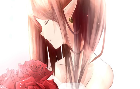 Picture red, earring, closed eyes, red roses, pointy, neck shoulders, elf girl, elphicke, bouquet of roses