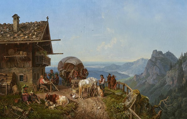 Photo wallpaper 1843, German painter, German painter, Tavern in the mountains, Henry Burkel, Tavern in the mountains, ...