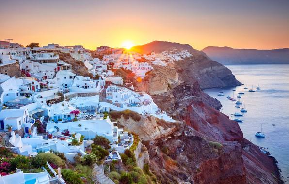 Picture sea, sunrise, dawn, coast, building, home, yachts, morning, Santorini, Greece, Santorini, Oia, Greece, The Aegean …
