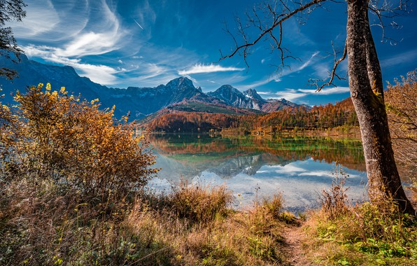 Picture autumn, landscape, mountains, nature, lake, reflection, tree, Austria, the bushes, Almsee, Else