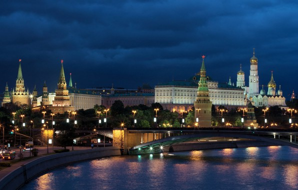 Picture night, bridge, the city, river, building, lighting, Moscow, tower, temple, The Kremlin, dome