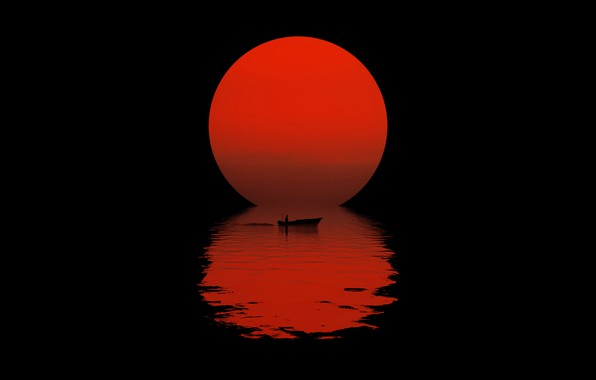 Picture the sun, night, reflection, boat, silhouette, black background, night, sun, reflection, boat, black background, silhouette, …