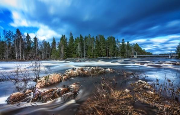 Picture river, bridge, rocks, Finland, long exposure, Springtime flood