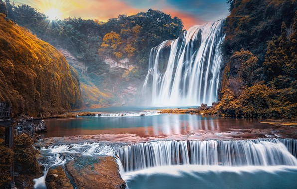 Picture rocks, dawn, waterfall, China, Huangguoshu Waterfall, Guizhou