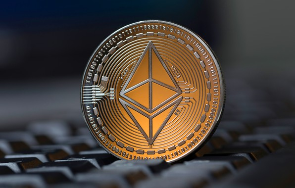 Picture blur, button, keyboard, fon, buttons, gray, keyboard, coin, the air, eth, ethereum