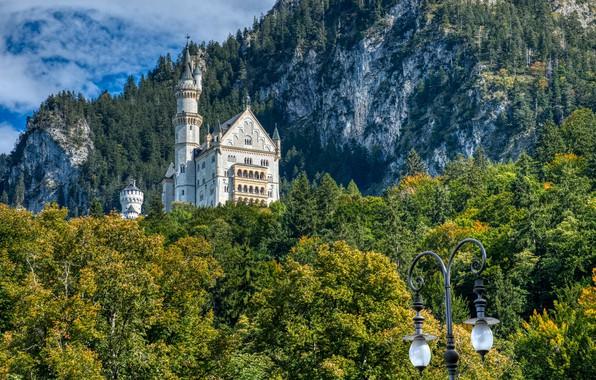 Picture forest, mountains, castle, rocks, Germany, Bayern, lantern, Germany, Bavaria, Neuschwanstein Castle, Bavarian Alps, The Bavarian …