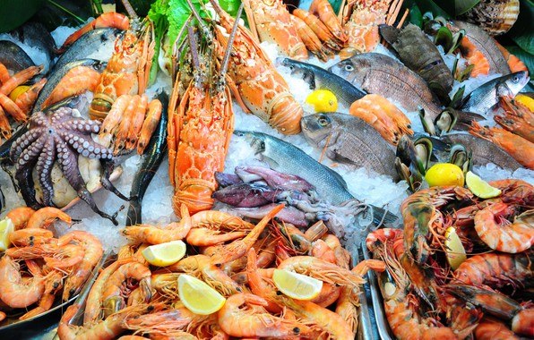 Picture lemon, fish, Omar, squid, shrimp, seafood