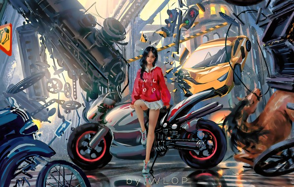 Picture car, city, girl, fantasy, game, science fiction, motorcycle, sci-fi, cyberpunk, train, brunette, horse, digital art, …