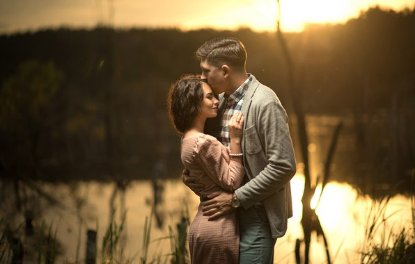 Picture girl, river, romance, dress, hugs, pair, male, lovers