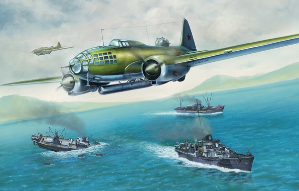 Picture Sea, Figure, USSR, USSR, Art, Bomber, WWII, Il-4, Aircraft, WWII, Bob, Igor Solovyev, by Igor …